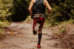 Back dirty man runner. In compression socks running on spring trail royalty free stock images
