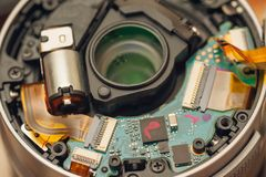Back of a disassembled photo lens bayonet. Back of disassembled photo lens bayonet stock photos