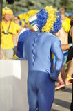 Back of disguised Sweden fans rooting for their team Stock Images