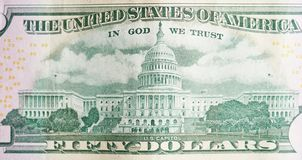Back of 50 dollar bill. With Us Capitol photo royalty free stock image