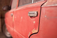 The back door of old car Stock Image