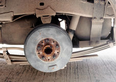 The back Drum brake is spare part of a pick-up car. waiting for Stock Photo
