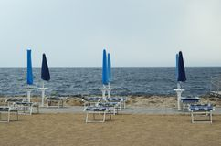 Back-end on the beach. Sunshade Has Been Closed stock photo
