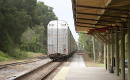 Back end of a freight train Royalty Free Stock Photo