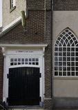 Back-entrance of monumental Bethelchurch at former island Urk. Back-entrance of monumental Bethel-church from 1867 at Urk. Above de doors is the Scripture `De Royalty Free Stock Photography