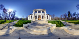 Back Entrance to Old Casino. 360 panorama of the back entrance to the Old Casino building in Central Park (Parcul Central) in Cluj-Napoca, Romania Royalty Free Stock Image