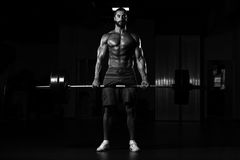 Back Exercise With Barbell In Fitness Center. Latin Bodybuilder Doing Heavy Weight Exercise For Back With Barbell In Modern Gym Stock Photos