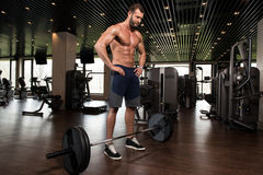 Back Exercise With Barbell In Fitness Center Stock Photo