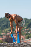 Back Exercise Using Resistance Bands Royalty Free Stock Photo