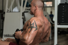 Back Exercises On A Seated Row Machine Royalty Free Stock Photography