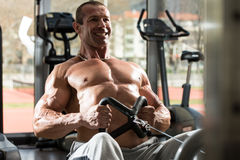 Back Exercises On A Seated Row Machine Stock Image