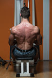Back Exercises On A Seated Row Machine Stock Photo