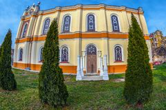 Back exterior of the Orthodox Synagogue, Oradea, Romania. ORADEA, ROMANIA - JANUARY 27, 2018: Back exterior of the Orthodox Synagogue with traditional columns Royalty Free Stock Image
