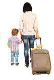 Back of family going to vacation Stock Photo