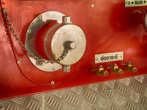 Back of a fire truck . Dials and controls. Royalty Free Stock Photos