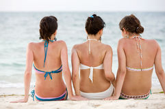 Back friends at the beach Royalty Free Stock Image