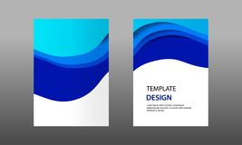 Back and Front document mock up and cover template, wave fluid blue layered in paper cut topographic style. stock illustration