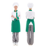 Back and front view of happy chef woman in uniform - full length Stock Photos
