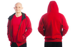 Back and front view of young bald man in red jacket Stock Images