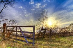 Back Gate in East Texas. A back gate during the early spring on an East Texas farm stock photography