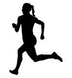 Back girl athlete runner. Running sprint black silhouette stock illustration