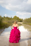 Back of girl in red prom dress Royalty Free Stock Photos