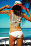 Back of glamor sexy model girl  in colorful cloth and sunhat Stock Image