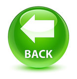 Back glassy green round button Stock Photos