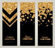 Back and Gold Banners Set Golden Foil Geometric Shapes. Vertical Back and Gold Banners Set, Greeting Card Design. Golden Foil Geometric Shapes. Vector Royalty Free Stock Photos
