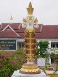 The back of golden Thepanom at Wat Phra That Doisaket in Chiang Mai,. Doisaket, Chiang Mai / Thailand - December 8 2018: The back of golden Thepanom an angel or stock photography