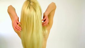 Back of Gorgeous sexy woman showing shiny healthy hair,studio stock footage