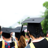 Back of graduates. During commencement Royalty Free Stock Image