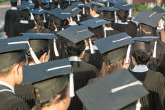 Back of graduates during commencement.  Stock Image
