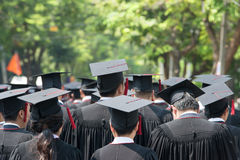 Back of graduates during commencement stock photography
