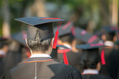 Back of graduates during commencement. Stock Photography