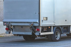 Back of a grey cargo truck Royalty Free Stock Photo