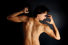 Back of a handsome young brunette male Royalty Free Stock Images
