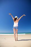 Back happy woman at Zahara beach Royalty Free Stock Image