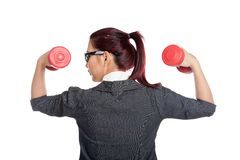 Back of healthy Asian business woman lift dumbbells Royalty Free Stock Photo