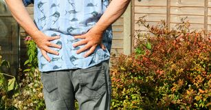 Back or hip pain. Arthritis or sciatica. Senior in pain. stock images