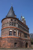 Back of the Holstein gate in Lubeck. Germany Stock Photo