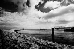 Back home. The entrance to the port of Helsingor Stock Images