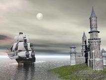 Back home - 3D render. Beautiful detailed old merchant ship going back to castle by cloudy night with full moon Royalty Free Stock Photography