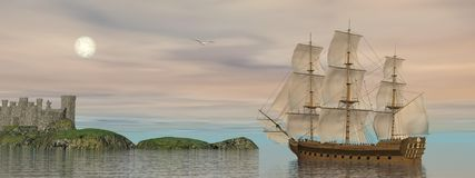 Back home - 3D render. Beautiful detailed old merchant ship going back to castle and seagull flying around by cloudy sunset with full moon Royalty Free Stock Photography