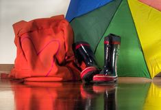 Back at home from school. Children stuff when they come back from school in a rainy day Royalty Free Stock Images