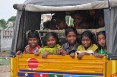 Back home after school. Kids returning home after school at Karaikal, Tamil Nadu Stock Images