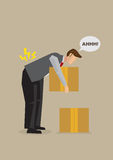 Back Injury from Bending Over Cartoon Vector Illustration. Cartoon man injured lower back by bending over to lift heavy box from the floor. Vector illustration Royalty Free Stock Photo