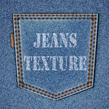 Back jeans pocket on realistic jeans texture. Vector eps10 background Royalty Free Stock Image