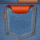 Back jeans pocket with red price tag label. Vector eps10 background Stock Image