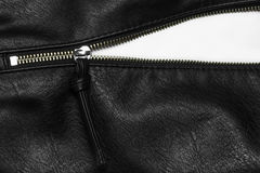 Back leather texture with open zipper. Royalty Free Stock Photography